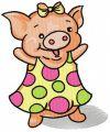 Happy piglet embroidery design