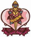 Love dagger embroidery design