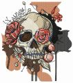 Skull overgrown with flowers embroidery design