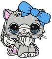 Littlest Pet shop sad cat embroidery design