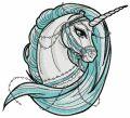 Moonlight unicorn embroidery design