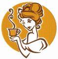 Lady's coffee break embroidery design