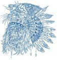 Native American warrior's skull embroidery design