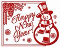 Happy New Year card with snowman embroidery design
