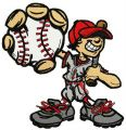 Happy baseball player embroidery design