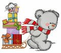 Bear in a warm striped scarf 2 embroidery design