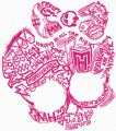Monster High sketch logo embroidery design