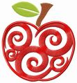 Spiral apple embroidery design