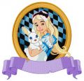 Alice with bunny embroidery design