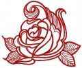 Red swirl rose embroidery design