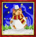 Christmas Cat Snowman embroidery design