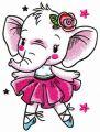 White elephant dances embroidery design