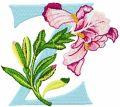 Iris Letter Z embroidery design