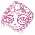 Sad dead beauty face embroidery design