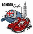 London style: cap and sneakers embroidery design