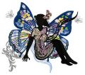 Lady butterfly embroidery design