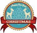 Two Deer Christmas Label embroidery design