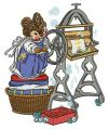 Laundress embroidery design