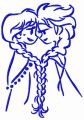 Frozen sisters sketch embroidery design