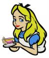 Alice with coffee cup embroidery design