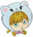 Girl in cat hat 5 embroidery design