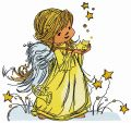 Star angel embroidery design
