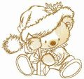New Year present for adorable bear embroidery design