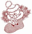 Christmas teddy with toy deer 2 embroidery design