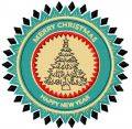 New Year tree badge embroidery design