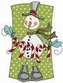 Snowman with candy cane garland embroidery design