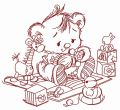 Baby teddy bear with toys 2 embroidery design