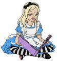 Alice reading embroidery design