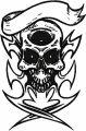 Pirate scull embroidery design