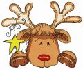 Sad Christmas deer embroidery design