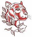 Cautious predator embroidery design