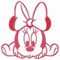 Minnie crawls embroidery design