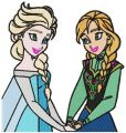 Anna and Elsa embroidery design