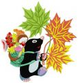 Mole in autumn forest embroidery design