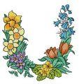 Floral letter U embroidery design