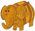 Wooden toy elephant embroidery design