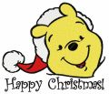 Winnie the Pooh in santa hat 3 embroidery design