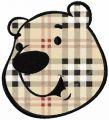 Polar bear face applique embroidery design