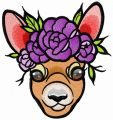 Deer with wreath of purple flowers embroidery design