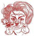 Crying lady sketch embroidery design