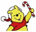 Winnie the Pooh in santa hat embroidery design