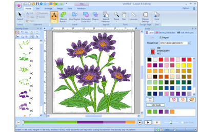 PE-DESIGN NEXT free machine embroidery software screen
