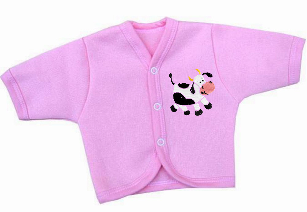 Baby shirt with Cow free machine embroidery design
