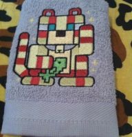 Bath towel Cat mod Minecraft embroidery design