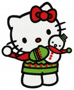 Hello Kitty with snowman toy