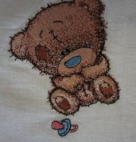 Tiny Teddy bear with children*s dummy  design embroidered1
